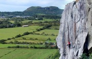 Strawberries E7 6b - Pete Robins goes for the On-Sight.<br>© Tristan Johnson