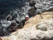 Joe Approaching first belay ledge