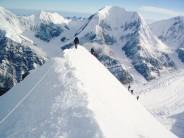 Crossing the ridge at 5700m on Chapayev