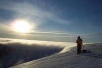 Ally and Andy watching cloud pour over the Beinn a'Bhuird plateau into Coire an Dubh Lochain