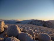 Sneachda behind cairngorm summit cairn