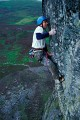 Ben Bransby in extremis on the first lead attempt, pumped, scared and about to take a big fall.<br>© Adam Long