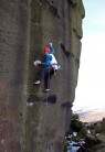 James Pearson on the second ascent of Gerty Berwick at Ilkley