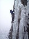 Climber: Tony Shepherd on the ice cascade pitch of Gemini VI 6****, Ben Nevis.