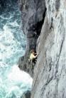 Climber: Tony Shepherd. Lucky Strike E2 5b***, Rusty Walls, Pembroke