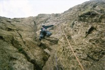 Off route on pitch 2 of Great Slab