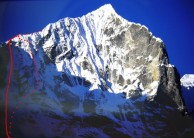 Teng Kangpoche 6500m showing the line of Bullock's 'Love and Hate'