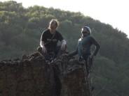 Alec and I enjoying the Summer sun on the Longstone Pinnacle after completing Vertigo.