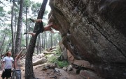 Steve latching a dyno in style....beast!<br>© Jonathan Bean