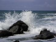Waves crashing at Vicarage Cliff