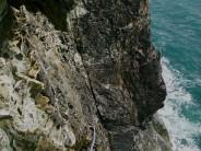 Journey to Ixtlan - exposed belay on arete