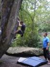 Mat bouldering on Slab Boulder, High Rocks