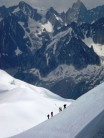 Ascending ridge to Aiguille Du Midi station from the Vallee Blanche