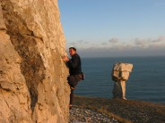 Brian Watson on Old Time Wall Right Hand V1 St Aldhelm's Head, Swanage