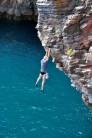 Tesco chalk bag and speedos on White Rhino Cliff, Berry Head