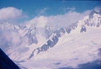 Cable cars across the Vallee Blanche from the Pyramide du Tacul July 1978