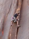 Unknown climber on upper part of El Cracko Diablo
