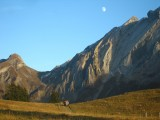 Moonrise over the Miroir d'Argentine, the day after I climbed the 'Y' Route with Graeme Ettle.<br>© nick simons