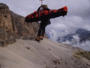 Austrian lad fell from above, me and mate had to sort him and his mate out 300M up rock face