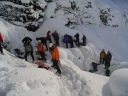 A very popular place to be - the queue for the Downfall climb