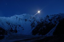 Shimshal Whitehorn at night. The start of the Couloir aux Milles Rigoles is pictured on the far right of the photo.
