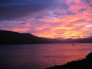 Sunrise from Carbost Bunkhouse, Skye.