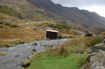Caravan: a victim of high winds. Llanberis Pass