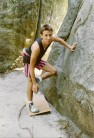 In those days bouldering mats were as thin as cardboard. Circa 1988.