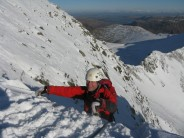 Bunter topping out on Nethermost Gully