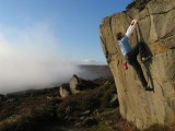 Flaky Wall, Slipstones. Just clear of the valley fog.<br>© Hammy
