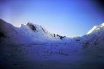 Aspirant Peak, Haramosh Glacier, Karakoram, showing line of Brendan Murphy and I's first ascent, 23 Aug 1985
