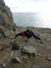 Sarah relieved to reach the security of the first clip on 'Very Ordinary Route', grade 1, Hedbury