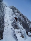 Rick leading main pitch, which was in great condition with lovely fat ice. Beautiful Alpine conditions.