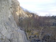 Trowbarrow in fading light. Looking from 'the front' towards Asylum Wall, Main Wall, Yellow Wall & beyond.