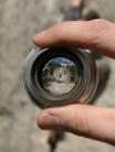 Arty fisheye lens shot of climber on Le Coeur