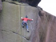 Neil Kershaw on Barriers in Time E6 6b, Roaches Lower Tier, Staffs