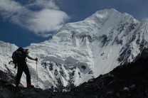 Climbing the icefall below the North-East Face of Shimshal Whitehorn