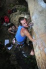 Kaare Iverson on Girl With a Machete, 6c+/7a, White Mountain, Yangshuo, China