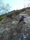 Julie in her element, vertical crimpy wall! Roadkill Recipes 7a