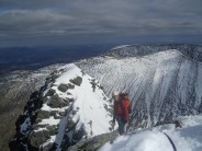 John Barker at top of Tower Ridge (IV,3), Ben Nevis, Great Tower behind