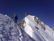 En route to the summit of Mont Maudit after finishing the Kuffner Arete