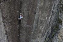 Jimmy 'Big Guns' McCormack on the classic bold wall climb of Lord of the Flies E6 6a.