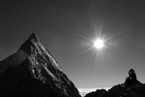 Looking up at the Eiger Summit