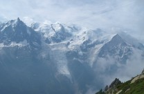 Looking across to the Aiguille du Midi and Mont Blanc (from the path between the Plan-praz lift and the Brevent)