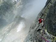 Descending the East Ridge of Piz Bacun