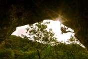 Rhoslyn Frugniet, House Burning down 7B+, Pride Evans Cave, Cheddar<br>© simon rawlinson