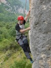 Me concentrating really hard (although you can't tell) on Redox F6a+, Sinsat 'La Dalle', Pyrenees, France. Bottom Roped.