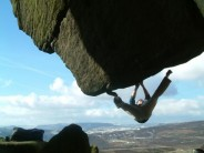 Sam Whittaker on Lowrider at Stanage end.