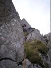 Pitch 3, the grassy excursion on Munich Climb.
