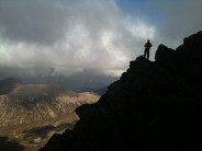 Eric high on Pinnacle Ridge on Skye